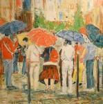 Výletníci pod deštníky