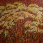 Žluté květy v červeném poli / Yellow flowers on a red field