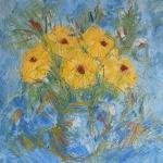 Žlutá kytice ve skleněném dždánku/ Yelow flowers in a glass mug